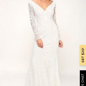 NATURAL BEAUTY WHITE LACE LONG SLEEVE MAXI DRESS